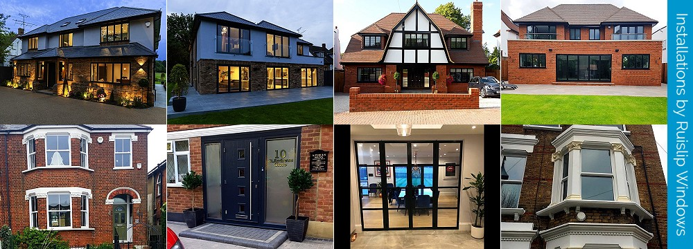 Installations by Ruislip Windows & Doors Ltd. uPVC windows and doors, aluminium windows and doors, EcoSlider box sash sliding windows, Residence windows, Alitherm Heritage windows and doors, composite front doors, bifold doors, patio doors.
